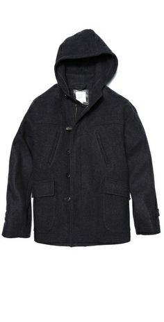 Billy Reid Hooded Wool Duffle Coat Billy Reid, Duffle Coat, Hoods, Sweaters, Fashion, Moda, Cowls, Fashion Styles, Food