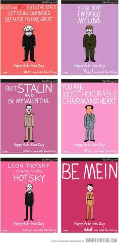 Dictator Valentine cards… Love love love these!