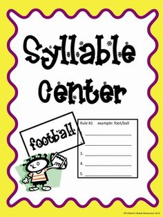 ... words on Pinterest   Syllable, Decoding and Word Work Centers