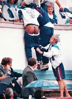 Gascoigne makes a joke to Paul Ince - 19 Sept 1996, Under 21 National Matches Moldova vs England - Chisinau