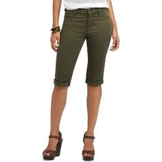 Women's Chaps Cuffed Twill Capris (£27) ❤ liked on Polyvore featuring pants, capris, green, 5 pocket twill pants, chaps pants, cuffed pants, slim fit pants and zip pants