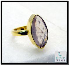 Rose Quartz Gemstone 18kt Gold Plating Toe Ring Sz 8 Gprroq8-6824 http://www.riyogems.com