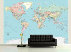 Contemporary grey world map wallpaper mural wallpaper murals detailed world political map mural gumiabroncs Choice Image