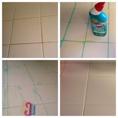 White grout in the kitchen? With toilet bowl cleaner. Wipe down counters 2 line grout with Clorox cleaner Let sit for 1 hour Gently scrub with a nail brush or tooth brush Wipe thoroughly with water. Works on floors too. Shower Cleaner, Toilet Bowl, Diy Cleaners, Home Hacks, Organization Hacks, Cleaning Hacks, Grout Cleaning, Interior Design Living Room, Clean House