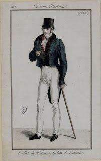 Costume Parisien 1817 via Serendipitous Stitchery: A study on Empire coats from 1810-1830, with a note on researching