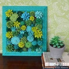 Make a faux succulent vertical garden by painting pinecones to look like succulents. We'll share how to paint pinecones to look just like succulents!