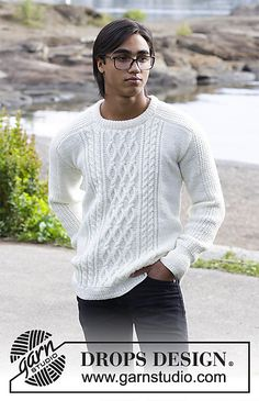 Siberia - Men's knitted sweater with cables. The piece is worked in DROPS Merino Extra Fine. - Free pattern by DROPS Design Mens Knit Sweater Pattern, Men Sweater, Drops Design, Sweater Knitting Patterns, Free Knitting, Crochet Patterns, Ärmelloser Pullover, Cable Knit Sweaters, Crochet Clothes