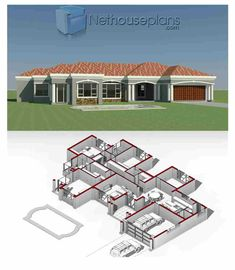 House plans in South Africa for sale online. Buy modern double storey 3 bedroom floor plans, 4 bedroom house plans with photos. 100 - above designs. House Plans For Sale, Free House Plans, House Plans With Photos, House Layout Plans, Small House Plans, 4 Bedroom House Designs, 4 Bedroom House Plans, Modern House Floor Plans, Home Design Floor Plans