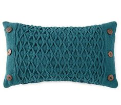 Diamond Woven Oblong Decorative Pillow in Turquoise - Love the buttons!