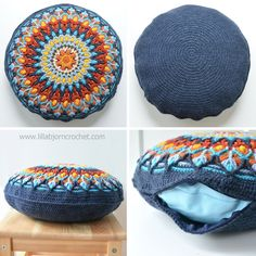 How to Make Round Pillow Form: In 4 Easy Steps Spanish Mandala Cushion – pattern by Lilla Bjorn Crochet Crochet World, Bag Crochet, Crochet Pillow Pattern, Crochet Diy, Crochet Amigurumi, Crochet Cushions, Crochet Home, Crochet Gifts, Sewing