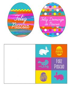 Tarjetas imprimibles (printable cards) de Huevitos y Conejos for Easter. You can also hang the eggs like a garland!