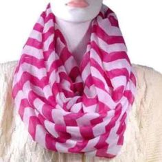 Chevron Infinity Scarf NWOT, never used, wine color with white chevron pattern. Lightweight FIRM PRICE/NO TRADES❗️ (cheaper on ♏️) Accessories Scarves & Wraps