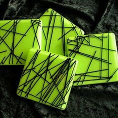 mmmm black stringers against that green...stunning.  Fused Glass Coasters