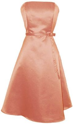 50s Strapless Satin Formal Bridesmaid Prom Dress Holiday Gown
