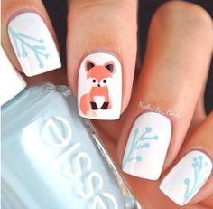 Cute fox nail design