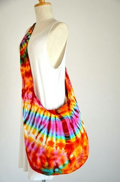 Neon Tie Dye Bag Hippie Bag Hobo Bag Sling Bag Cotton by Dollypun