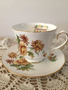 Birthday Month Cup and Saucer November  by PineStreetPickers