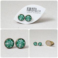 Starbuck earrings, Starbuck stud, starbuck jewelry, coffee earring, coffee jewelry green white, ear studs earrings, vintage style, bronze