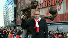 Arsenal legend Dennis Bergkamp at the unveiling of a statue in his honour before the Barclays Premier League match between Arsenal and Sunderland at Emirates Stadium February By Stuart MacFarlane Arsenal Stadium, Arsenal Football, Arsenal Fc, Football Players, Dennis Bergkamp, Tony Adams, Afc Ajax, Thierry Henry, Dennis The Menace
