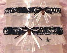 Dallas Cowboys Wedding Garter Set Organza Football NFL by narfer99, $24.00