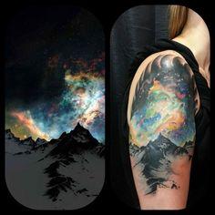 Aurora Borealis Tattoo. By Eric Mills at Deja Vu Tattoo. Winston Salem, NC