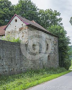 Old and historical building in Rożnów (Roznow) , Poland .A piece of old walls.