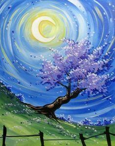 Paint Nite. Nocturnal moon Purple Blossom tree. Beginner painting idea.