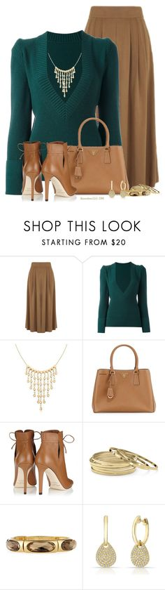 """Brown & Teal"" by houston555-396 ❤ liked on Polyvore featuring Warehouse, Sacai, Ross-Simons, Prada, Jimmy Choo, Palm Beach Jewelry, Emily & Ashley and Anne Sisteron"