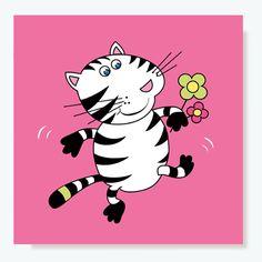 "Poster ""Katze"" pink"