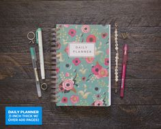Teal Florals Planner / Daily / 1-Inch Thick SUPER by Ruskerville