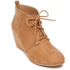 New Directions Tan Camden Laceup Wedge Bootie - Women's ($45) ❤ liked on Polyvore featuring shoes, boots, ankle booties, tan, wedge ankle boots, tan booties, faux suede lace-up booties, suede ankle boots and suede booties