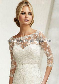 JK009 Beautiful Three Quarter Sleeve Lace Wedding Dress Jackets Lace Wedding Bolero