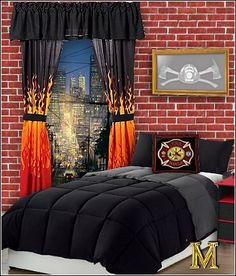 Fire truck theme bedrooms   Fire Engine Bedroom Decorating   Fire truck  theme beds   firemen bedroom ideas   firefighter bedroom accessories    fireman  Junk Chic Cottage  Fireman Room   ThE MaN CaVeS    Pinterest  . Firefighter Room Decorations. Home Design Ideas