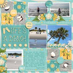 Photo Frenzy: Life's A Beach Templates by Miss Fish Templates Let's Go Coastal by Connie Prince (retired), GingerScraps is a fun and welcoming Digital Scrapbooking community. Scrapbooking Layouts Vintage, Scrapbook Titles, Digital Scrapbooking, Fish Template, Beach Walk, Beach Themes, Project Life, Scrapbooks, Cruise