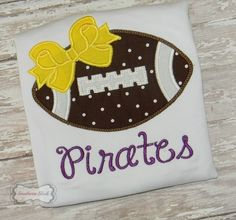 Football Bow Handmade Embroidered Shirt or Bodysuit With Team Name