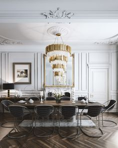 Get inspired by these dining room decor ideas! From dining room furniture ideas, dining room lighting inspirations and the best dining room decor inspirations, you'll find everything here! French Interior Design, Modern Dining Room, Dining Room Decor, Classic Dining Room, Dining Room Trends, Dining Room Chandelier, Modern French Interiors, Luxury Home Decor, Parisian Interior