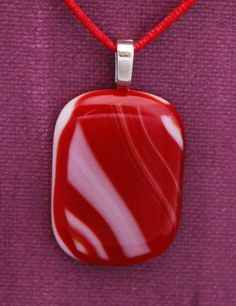 Red and White Fused Glass Pendant; Red and White Fused Glass Necklace with Satin Cord by UniqueGlassTreasures on Etsy