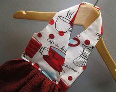 Hanging Dish Towel Coffee House Fabric by AlwaysALittleBehind