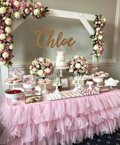 Pin by mari zeeb on abbis first birthday decoracion mesas de postres, dulce Deco Baby Shower, Shower Party, Baby Shower Parties, Bridal Shower, Baby Shower Table Set Up, Shabby Chic Baby Shower, Baby Shower Pink, Baby Shower Cake For Girls, Ballerina Baby Showers