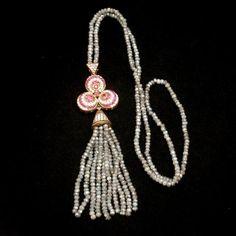 Iolite Necklace Trefoil Pendant with Tassel Sterling Silver