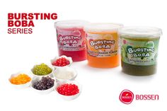 Bursting Boba by Bossen is a tapioca-like pearl with real fruit juice inside, and it makes a wonderful topping for your frozen yogurt, ice cream, or boba drink. Bursting Boba comes in blueberry, cherry, green apple, orange, passion fruit, peach, pomegranate, red guava, strawberry, lychee, mango, and yogurt flavors. It's ideal for frozen yogurt shops, parties, special events, or home enjoyment.