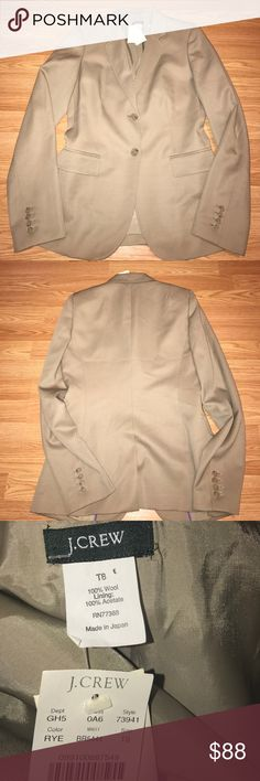 J.crew blazer Wool/poly. Hits below hip. Two-button closure. Bust darts. Flap welt pockets. Functional buttons at cuffs. Back vent. Lined. Dry clean. Import. Size is T8 J. Crew Jackets & Coats Blazers