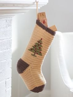 Crochet Christmas Stockings, a Handmade Holiday tradition! Crochet Christmas Stockings, a Handmade Holiday tradition! Crochet Christmas Stocking Pattern, Crochet Stocking, Cross Stitch Christmas Stockings, Crochet Christmas Ornaments, Xmas Stockings, Holiday Crochet, Christmas Knitting, Christmas Patterns, Christmas Tree