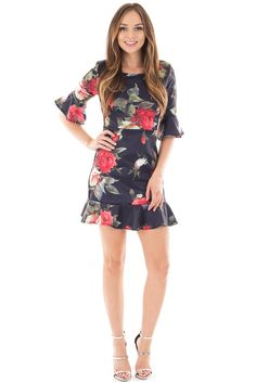 Lime Lush Boutique - Navy Floral Print Dress with Ruffled Details, $39.99 (https://www.limelush.com/navy-floral-print-dress-with-ruffled-details/)