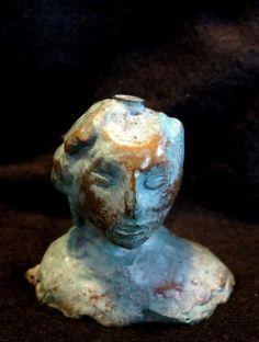 "Bronze Lost Wax Cast  Female Bust Sculpture Fine Art, less than 12"", on sale 50 % off, www.springgallerymaine.com, www.modernartfoundry.com"
