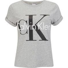 219536302 Calvin Klein Women's Logo Short Sleeve Crew Neck T-Shirt ($35) ❤ liked