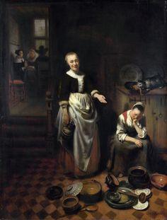 Nicolaes Maes - Interieur met een slapende meid