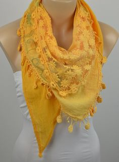 ON SALE  Women's Cotton Scarf Yellow Scarf Flower by LIFEPARTNER, $16.00