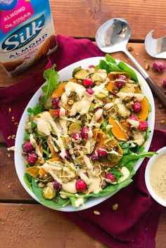 Hypoallergenic Pet Dog Food Items Diet Program This Brussels Sprout Butternut Squash Salad Is The Perfect, Colorful Recipe For Your Holiday Table And The Oil-Free, Creamy Dressing Is Amazing. Vegetarian Christmas Recipes, Vegan Thanksgiving Dinner, Thanksgiving Recipes, Fall Recipes, Dog Food Recipes, Holiday Recipes, Veg Recipes, Salad Recipes Healthy Lunch, Salad Recipes For Dinner