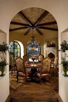 Breakfast room in a Mediterranean-style Arizona home. Fratantoni Luxury Estates.